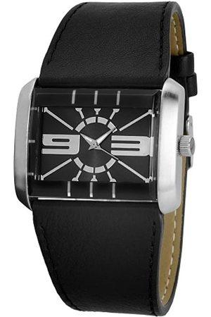 Just Hombre Relojes - Uhren 48-S4929A-BK - Reloj analógico de caballero de cuarzo con correa de piel negra
