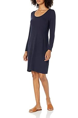 Daily Ritual Rayon Spandex Fine Rib Long-Sleeve Scoop Neck Dress Vestido