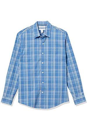 Amazon Long-Sleeve Slim-Fit Shirt Button-Down-Shirts, Cuadro Aqua/