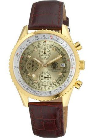Constantin Durmont Navigator Diamond Gold NavGD-D - Reloj cronógrafo de caballero de cuarzo con correa de piel