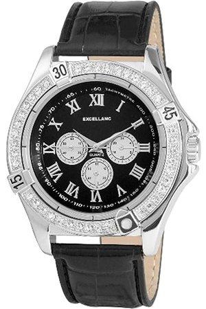 Excellanc Hombre Relojes - 292221000003 - Reloj analógico de caballero de cuarzo con correa de piel negra
