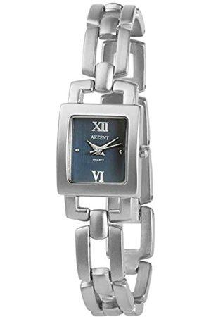 Akzent SS7123000078 - Reloj analógico de mujer de cuarzo con correa de aleación plateada - sumergible a 30 metros