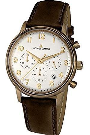 Jacques Lemans Hombre Relojes - JacquesLemansRelojCronógrafoparaHombredeCuarzoconCorreaenCueroN-209ZL