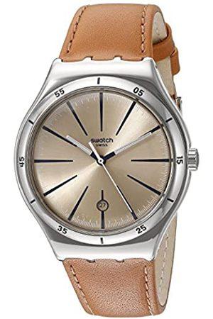 Swatch Hombre Relojes - Reloj analógico para Hombre de 42,7 mm, Correa de Piel de Ternero, Caja de Acero, Cuarzo, Esfera Beis