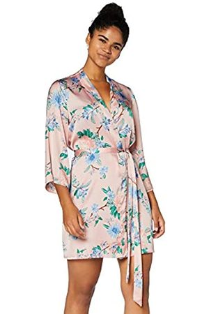 IRIS & LILLY Bata Kimono de Algodón Mujer, Multicolor (Pink Tropical), XS