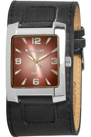 Excellanc 293027100090 - Reloj analógico de caballero de cuarzo con correa de piel negra