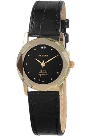 Akzent Mujer Relojes - SS73014000010 - Reloj analógico de mujer de cuarzo con correa de piel negra - sumergible a 30 metros