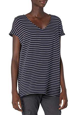 Daily Ritual Marca Amazon - Supersoft Terry Dolman-Sleeve V-Neck Tunic shirts, marino, raya blanca