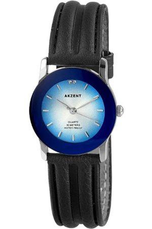 Akzent Mujer Relojes - SS7923000004 - Reloj analógico de mujer de cuarzo con correa de piel negra - sumergible a 30 metros