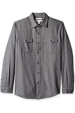 Amazon Hombre Casual - Slim-Fit Long-Sleeve Solid Flannel Shirt Button-Down-Shirts, Carbón Heather