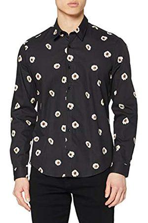 FIND Marca Amazon - Camisa Vestir Estampado Floral Hombre, 39 cm