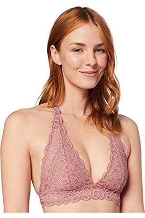IRIS & LILLY Mujer Sin aro - Marca Amazon - Crochet Lace Halter Sujetador Estilo Bralette Mujer, (Rose), M