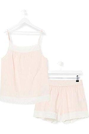 IRIS & LILLY Pijama de Satén Mujer, (rayas rosas)., L