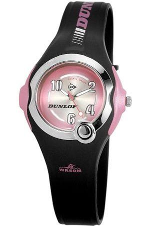 Dunlop DGEM2 - Reloj analógico de mujer de cuarzo con correa de goma negra (luz) - sumergible a 50 metros