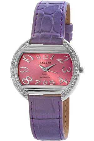 Akzent SS7323800021 - Reloj analógico de mujer de cuarzo con correa de piel lila - sumergible a 30 metros