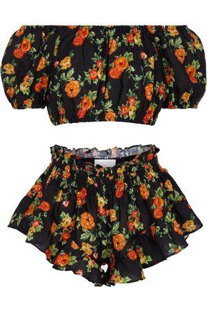 Caroline Constas Exclusivo en Mytheresa - conjunto de crop top bandana y shorts de lino floral