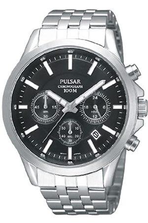 Seiko Pulsar Modern - Reloj analógico de caballero de cuarzo con correa de acero inoxidable plateada (cronómetro) - sumergible a 100 metros