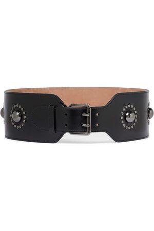 Alaïa Cinturón de piel adornado