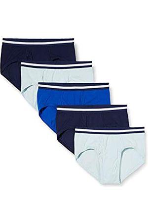 FIND Marca Amazon - Slip para Hombre Y-Front, Pack de 5, (Navy X2, Wash Blue X2, Royal X1), L
