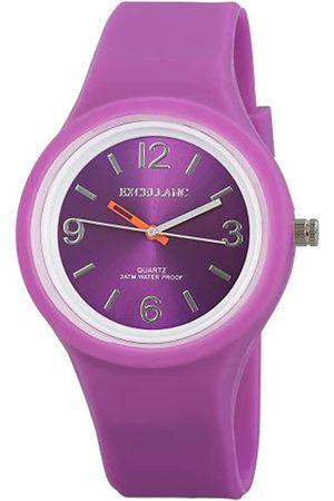 Excellanc 225683800003 - Reloj analógico de caballero de cuarzo con correa de silicona lila - sumergible a 30 metros