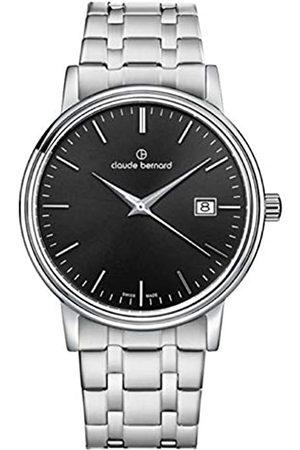 Claude Bernard Reloj clásico para Hombre 53007 3M NIN de Acero Inoxidable con Esfera Negra