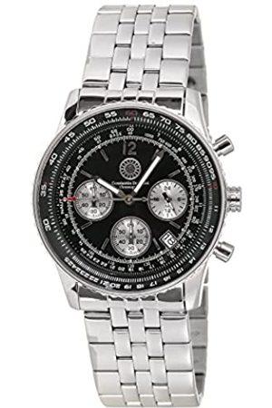 Constantin Durmont Air Commander Steel/Black AirSTBK - Reloj cronógrafo de caballero de cuarzo con correa de acero inoxidable plateada