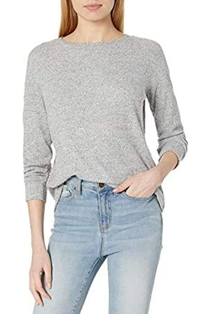 Daily Ritual Cozy Knit Rib Long-Sleeves Drop-Shoulder Open Crewneck Sweatshirt Athletic-Shirts