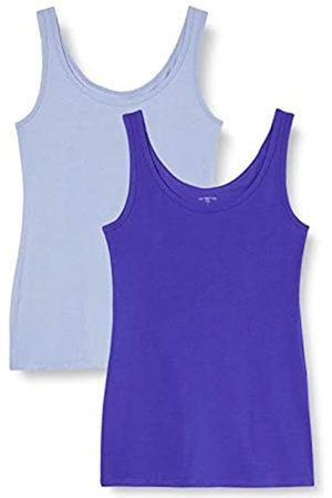 IRIS & LILLY Mujer Sin mangas - Camiseta de Tirantes de Algodón para Mujer, Pack de 2, 1 x Vaquero & 1 x Brillante