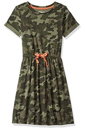 Amazon Girl Short-Sleeve Elastic Waist T-Shirt Dress Playwear, Camo with Coral Bow