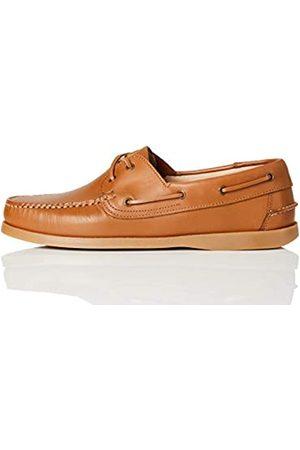 FIND Hombre Loafers - Amz038_Leather Náuticos, Camel/Gum