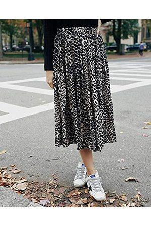 THE DROP Falda para Mujer, Midi, Plisada, sin Cierre, Estampado de Leopardo, por @somewherelately