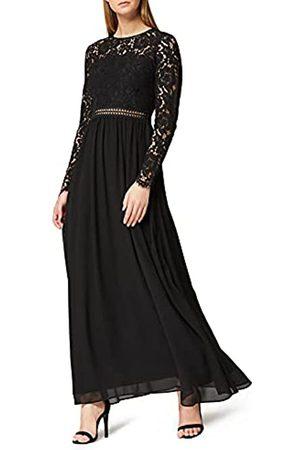 TRUTH & FABLE Mujer Casual - Marca Amazon - Vestido Largo Evasé de Encaje Mujer, (Black), 44