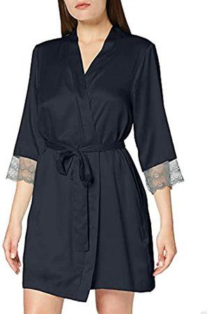 IRIS & LILLY Marca Amazon - Bata Corta Estilo Kimono de Satén para Mujer, (Dark Grey), XS