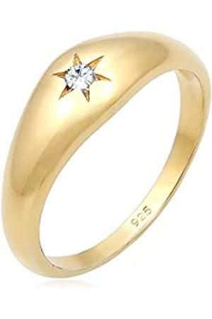 Elli Anillos Anillo para mujer tipo sello con estrella brillante y cristales de plata esterlina 925