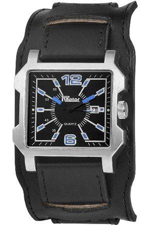 Raptor Hombre Relojes - 297921200032 - Reloj analógico de caballero de cuarzo con correa de piel negra - sumergible a 30 metros
