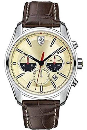 FERRARI STORE Hombre Relojes - GTB de c Chrono – Reloj de Pulsera analógico de Cuarzo Piel 0830199