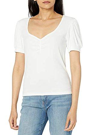 THE DROP Theresa Camiseta de Manga Corta Abullonada en Punto de Canalé con Cuello Corazón para Mujer