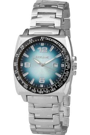 Excellanc 284023000114 - Reloj analógico de caballero de cuarzo con correa de aleación plateada