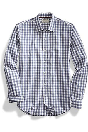Goodthreads Hombre Casual - Slim-Fit Long-Sleeve Large-Scale Gingham Shirt Camisa, (Navy/White)