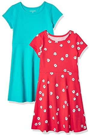 Amazon Paquete de 2 Vestido de Manga Corta para niña Playwear-Dresses
