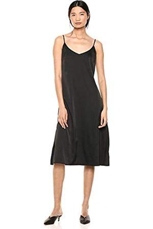 THE DROP Mujer Casual - Ana Vestido de estilo lencero de largo medio y efecto de seda con cuello de pico Mujer