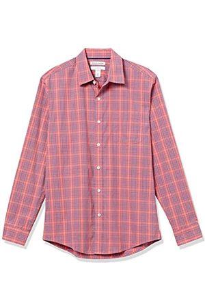 Amazon Hombre Casual - Long-Sleeve Slim-Fit Shirt Button-Down-Shirts, Tela Escocesa roja/ Lavada