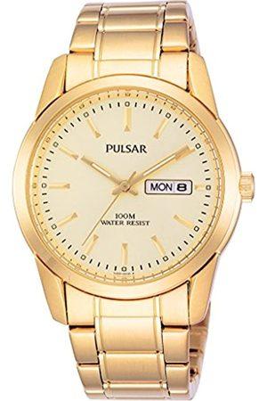 Seiko Pulsar PJ6024X1 - Reloj analógico de caballero de cuarzo con correa de acero inoxidable dorada - sumergible a 100 metros
