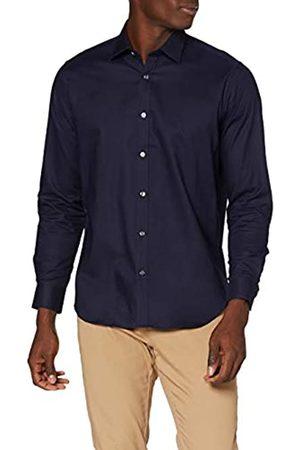 MERAKI Hombre De vestir - Marca Amazon - Camisa de Vestir Regular Fit Estilo Óxford Hombre, (Navy), S
