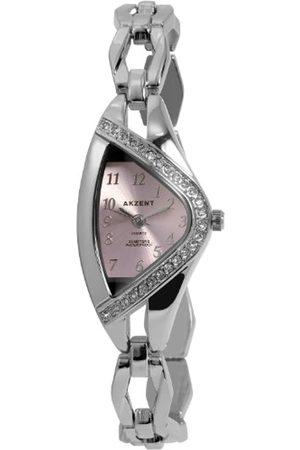 Akzent SS7123800070 - Reloj analógico de mujer de cuarzo con correa de aleación plateada - sumergible a 30 metros