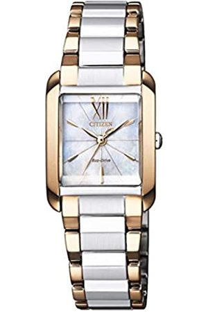 Citizen Mujer Relojes - Reloj Analógico para Mujer de Eco-Drive con Correa en Recubierto de Acero Inoxidable EW5556-87D