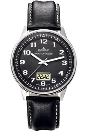 DUGENA Hombre Relojes - 4415132 - Reloj analógico de caballero de cuarzo con correa de piel negra (alarma) - sumergible a 50 metros