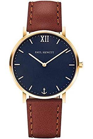 Paul Hewitt Reloj de muñeca para Hombre en Acero Inoxidable Sailor Blue Lagoon - Reloj de Hombre con Correa de Cuero marrón