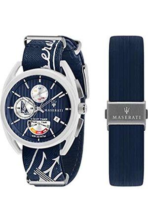 Maserati Reloj para Hombre, Colección TRIMARANO, en Acero, Cuero, Fibra de Vidrio