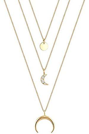 Elli Collares Mujer Tendencia de la Capa de Media Luna con Cristales de en Plata Esterlina 925